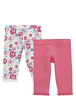 F&F 2 Pack of Plain and Floral Print Leggings with As New Technology - Pink & Multi