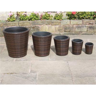 Mixed Brown Hand Woven Rattan Trellis Flower Pots - Set Of 5