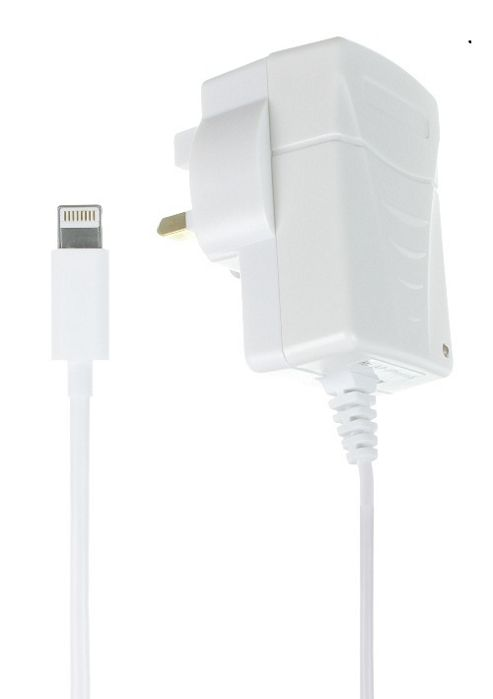 Kit 1 Amp Mains Charger with Lightning Connector for iPhone 5, iPod Nano 7th Generation and iPod Touch 5th Generation - White