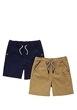 F&F 2 Pack of Drawstring Shorts - Navy & Stone