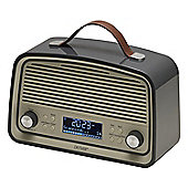 Denver DAB-38 Grey Retro DAB Radio with 2.4 Inch Display, DAB+ and Clock / Alarm