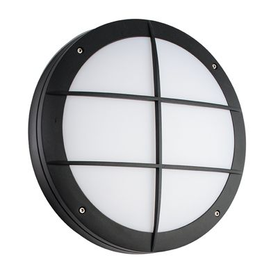 Luik Grill 18W & 0.7W Natural White Wall Light Textured Black Paint