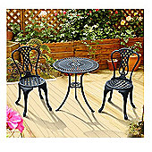 Outsunny Patio Cast Aluminium Outdoor Furniture Table and Chairs-Black