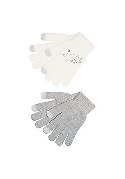F&F 2 Pack of Diamant© Star and Sparkle Touch Screen Gloves - Cream & Grey