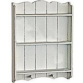 Draft - Wall Mounted Wood Storage Shelf / Pegs - Antique Cream