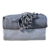 EHC Pack Of 2 Cotton Chevron Throw, Grey