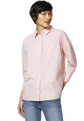 F&F Buttoned Step Hem Boyfriend Shirt Pink 8