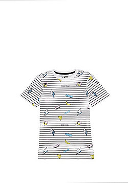 F&F Striped Skateboard Print T-Shirt - White Multi