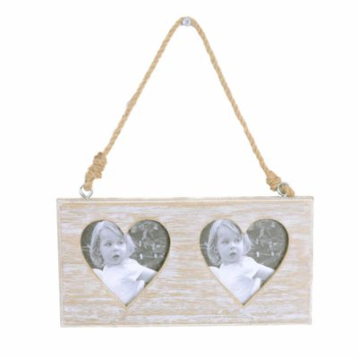 Rustic Wooden Double Heart Photoframe with Rope Hanger