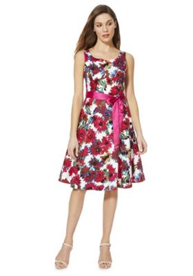 Solo Floral Print Sleeveless Dress with Belt Pink Multi 12