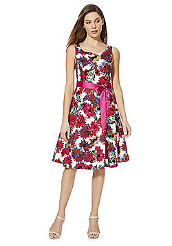 Solo Floral Print Sleeveless Dress with Belt - Pink & Multi