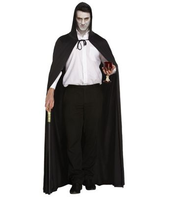 Adult's Male Black Long Hooded Cape Fancy Dress Accessory