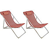 Pack Of 2 Harbour Housewares Metal Garden Deck Chair - 3 Positions - Red / White