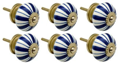 Ceramic Cupboard Drawer Knobs - Floral Design - Dark Blue Lines - Pack Of 6