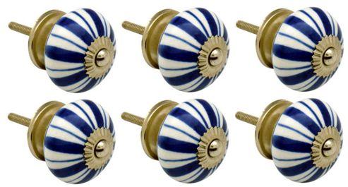 Ceramic Cupboard Drawer Knobs - Floral Design - Dark Blue Lines - Pack Of 6