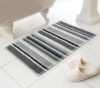 Stripy Microfibre Bobble Bath Mat - Black & Grey Stripes