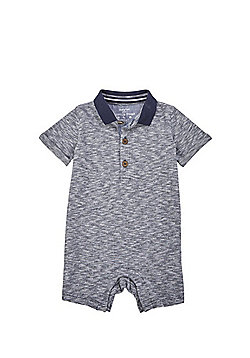 F&F Short Sleeve Polo Romper - Blue