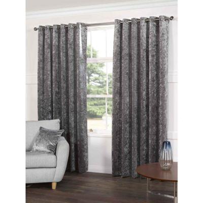 Crushed Velvet Grey Eyelet Curtains - 46x90 Inches (117x229cm)