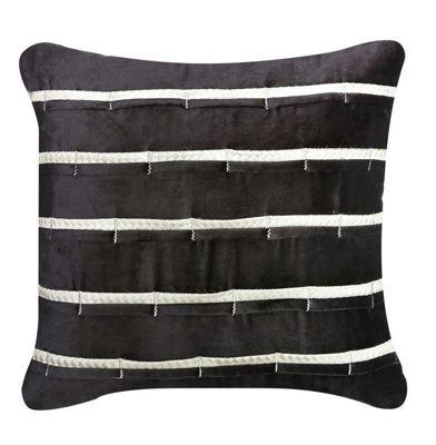 Black Velvet Striped Cushion