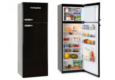 Montpellier MAB345K Retro Fridge with Top Mount Freezer in Black