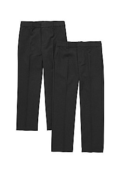 F&F 2 Pack of Flat Front Reinforced Knee Regular Fit School Trousers - Dark grey
