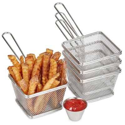 Andrew James Mini Chip Baskets - 8 Piece Set with 4 Small Serving Baskets & 4 Sauce Pots
