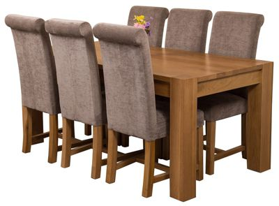 Kuba Chunky 180cm Kitchen Solid Oak Dining Set Table & 6 Grey Fabric Chairs