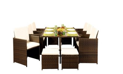 Comfy Living 10 Seater Rattan Outdoor Garden Furniture Set In Golden Brown With Cover - 6 Chairs 4 Stools & Dining Table