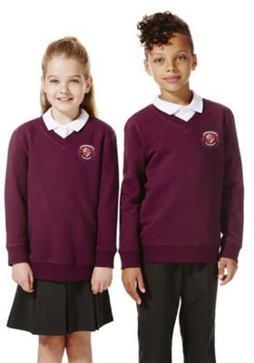 Unisex Embroidered V-Neck School Sweatshirt with As New Technology 9-10 years Burgundy