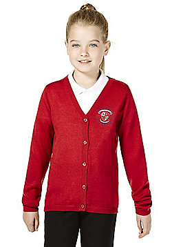 Girls Embroidered Wool Blend School Cardigan - Red