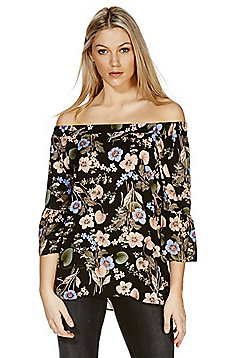 F&F Floral Print Bell Sleeve Off the Shoulder Top - Multi