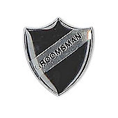 Retro Black Shield Groomsman Wedding Badge