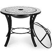 VonHaus Dark Grey Mosaic Fire Pit Coffee Table