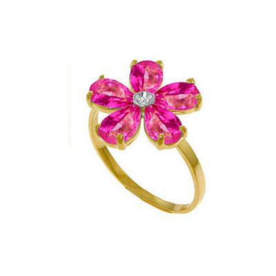 QP Jewellers Diamond & Pink Topaz Foliole Ring in 14K Gold - Size T 1/2