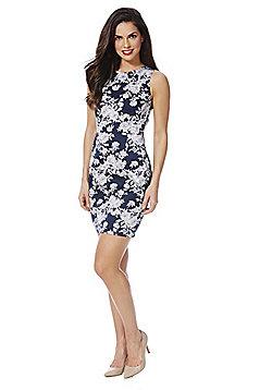 Stella Morgan Floral Sleeveless Dress - Navy