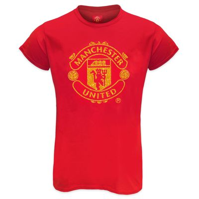 Manchester United FC Ladies Glitter T-Shirt Red Size 12