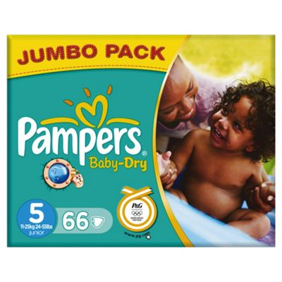 Pampers Baby Dry Jumbo Pack - Size 5 - Junior - 66 Nappies