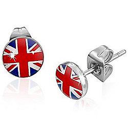 Urban Male Stainless Steel Union Jack Flag Stud Earrings 7mm
