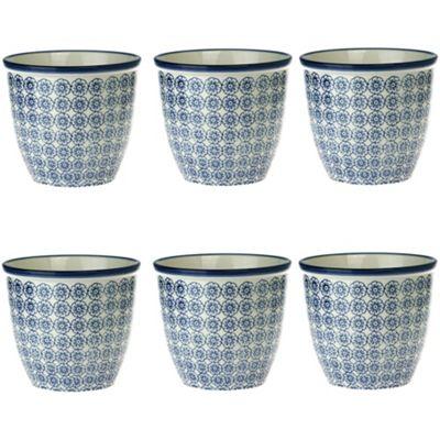 Patterned Plant Pot. Porcelain Indoor / Outdoor Flower Pot - Blue Flower Print Design - Box of 6