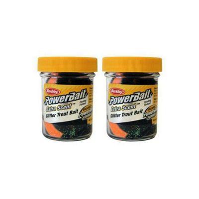 Berkley Powerbait Select Glitter Troutbait - Black/Orange Twin Pack