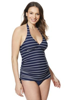 F&F Striped Halterneck Maternity Tankini Swimsuit Navy 8