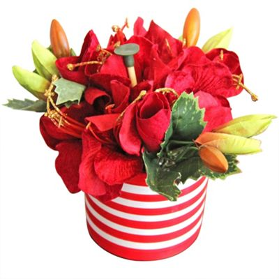 Homescapes Artificial Christmas Flowers Red Poinsettia in a Pot