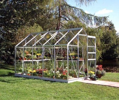 Halls 10x6 Popular Aluminium Greenhouse + Base - Toughened Glass
