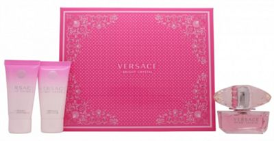 Versace Bright Crystal Gift Set 50ml EDT + 50ml Perfumed Body Lotion + 50ml Perfumed Bath & Shower Gel For Women