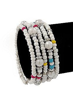 Teen's White Acrylic Bead Multistrand Bracelet - Adjustable