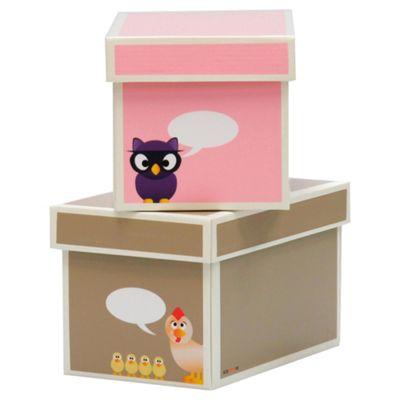 Kroom 2 Cardboard Boxes With Lids Animal (Pink Brown)
