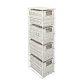 Woodluv 4 Drawer Resin Tower Storage Unit - White