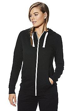 F&F Active Contrast Drawstring Zip-Through Hoodie - Black