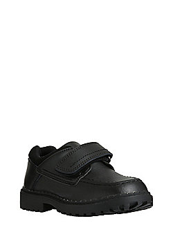 F&F Coated Leather Scuff Resistant Riptape School Shoes - Black