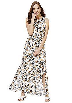 Mela London Floral Crinkle Maxi Dress - White
